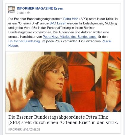 SPD Bundestagsabgeordnete Petra Hinz mit schweren Beschuldigungen konfrontiert