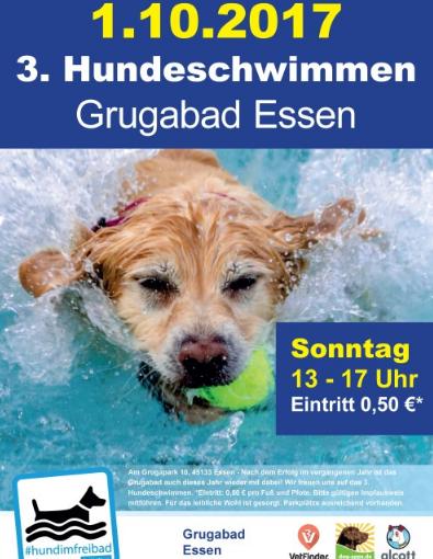 Ende der Freibadsaison 2017  und Dritter Hundeschwimmtag am Sonntag, 1. Oktober, im Grugabad